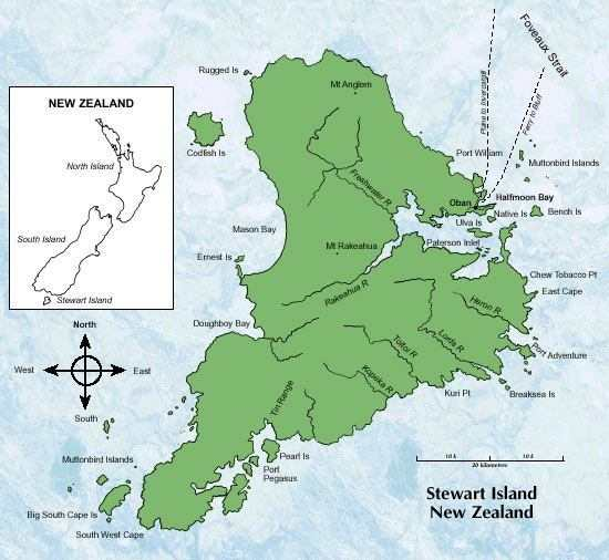 Stewart Island map - click to enlarge